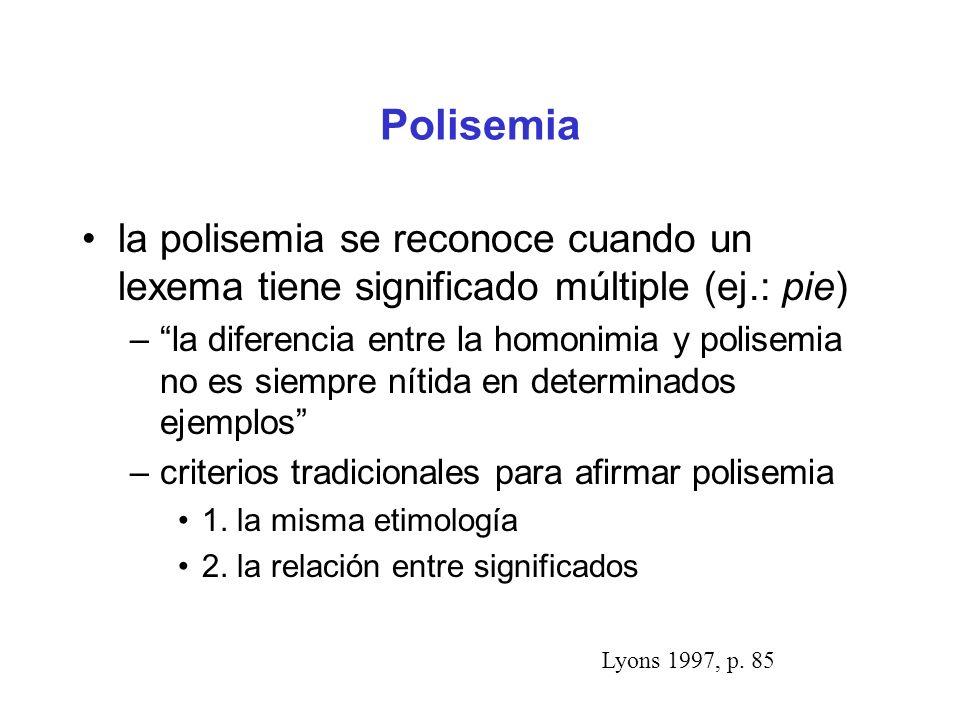 Polisemia la polisemia se reconoce cuando un lexema tiene significado múltiple (ej.: pie) –la diferencia entre la homonimia y polisemia no es siempre nítida en determinados ejemplos –criterios tradicionales para afirmar polisemia 1.