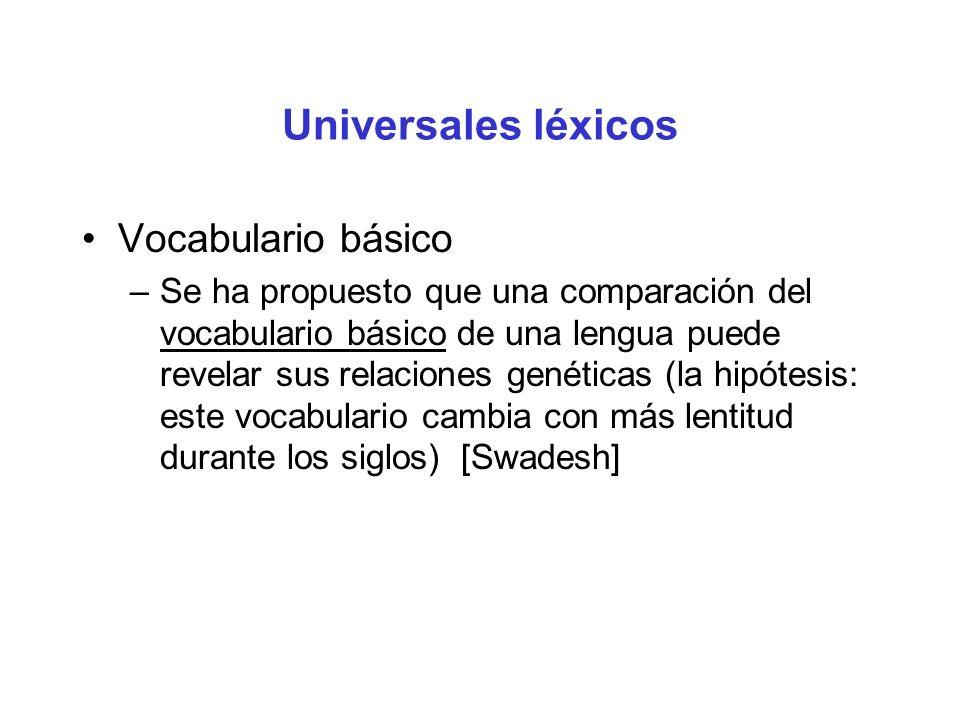 Universales léxicos Vocabulario básico –Se ha propuesto que una comparación del vocabulario básico de una lengua puede revelar sus relaciones genéticas (la hipótesis: este vocabulario cambia con más lentitud durante los siglos) [Swadesh]