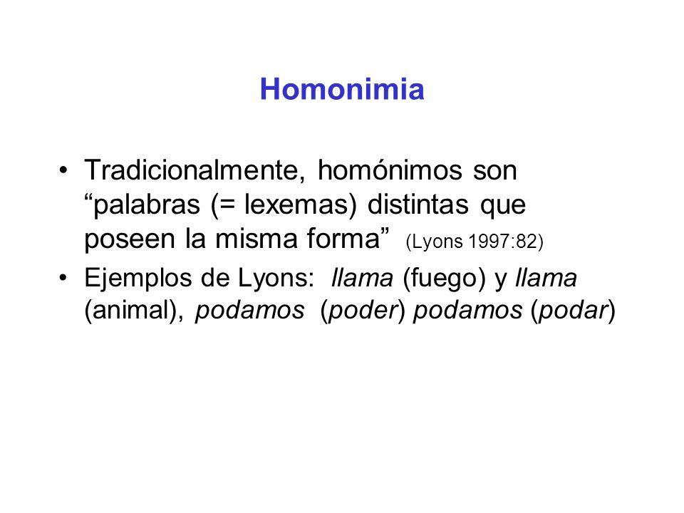 Homonimia Tradicionalmente, homónimos son palabras (= lexemas) distintas que poseen la misma forma (Lyons 1997:82) Ejemplos de Lyons: llama (fuego) y llama (animal), podamos (poder) podamos (podar)