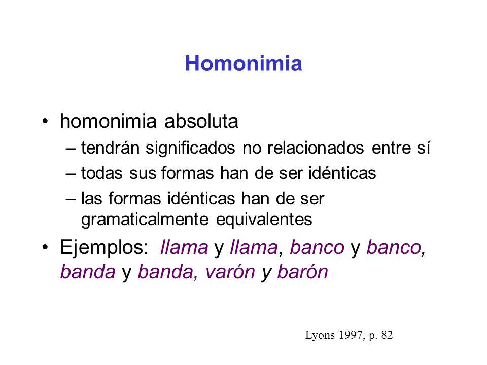 Homonimia homonimia absoluta –tendrán significados no relacionados entre sí –todas sus formas han de ser idénticas –las formas idénticas han de ser gramaticalmente equivalentes Ejemplos: llama y llama, banco y banco, banda y banda, varón y barón Lyons 1997, p.