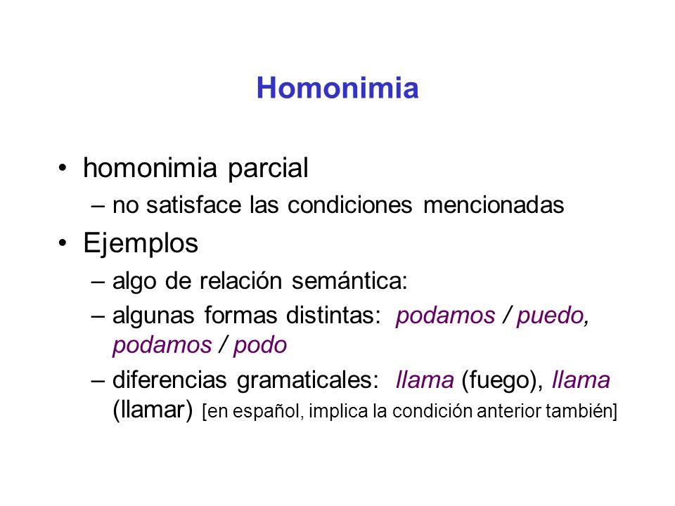 Homonimia homonimia parcial –no satisface las condiciones mencionadas Ejemplos –algo de relación semántica: –algunas formas distintas: podamos / puedo, podamos / podo –diferencias gramaticales: llama (fuego), llama (llamar) [en español, implica la condición anterior también]
