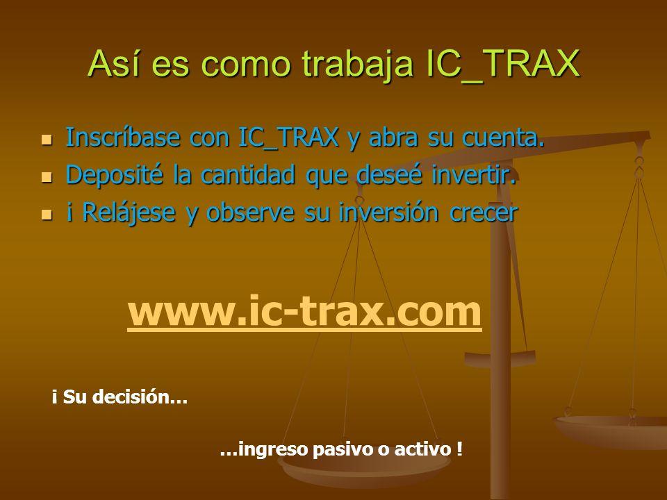 Así es como trabaja IC_TRAX Inscríbase con IC_TRAX y abra su cuenta.