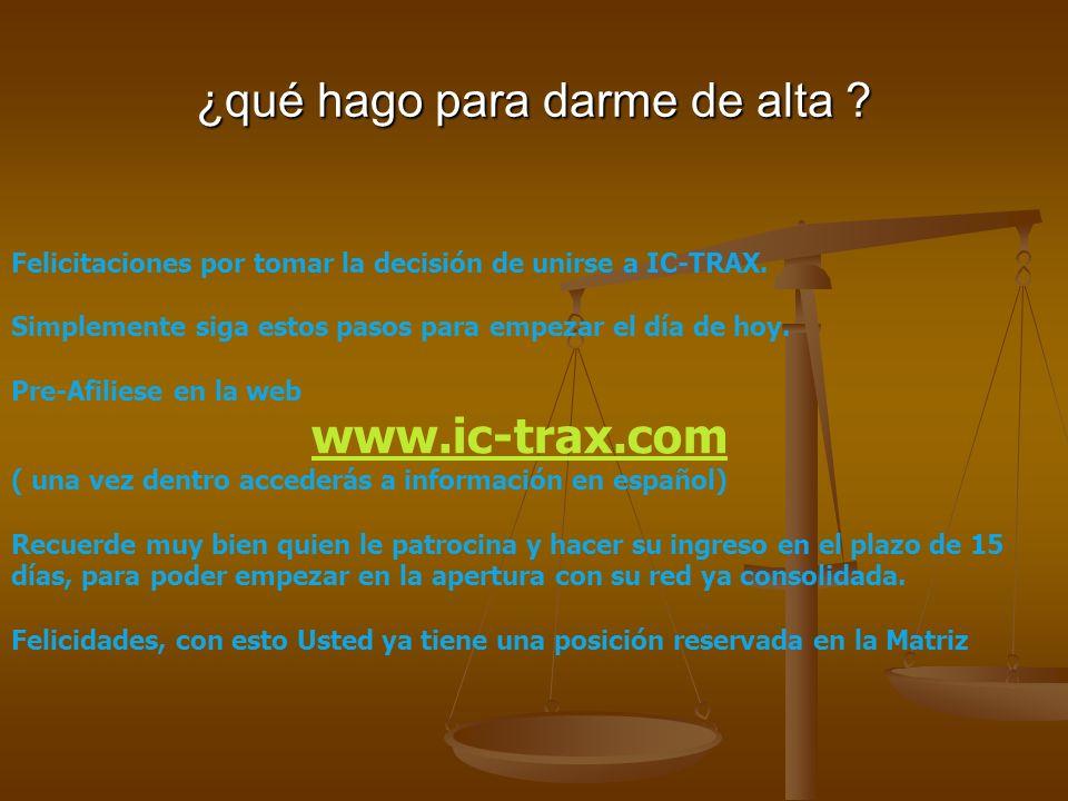 ¿qué hago para darme de alta . Felicitaciones por tomar la decisión de unirse a IC-TRAX.