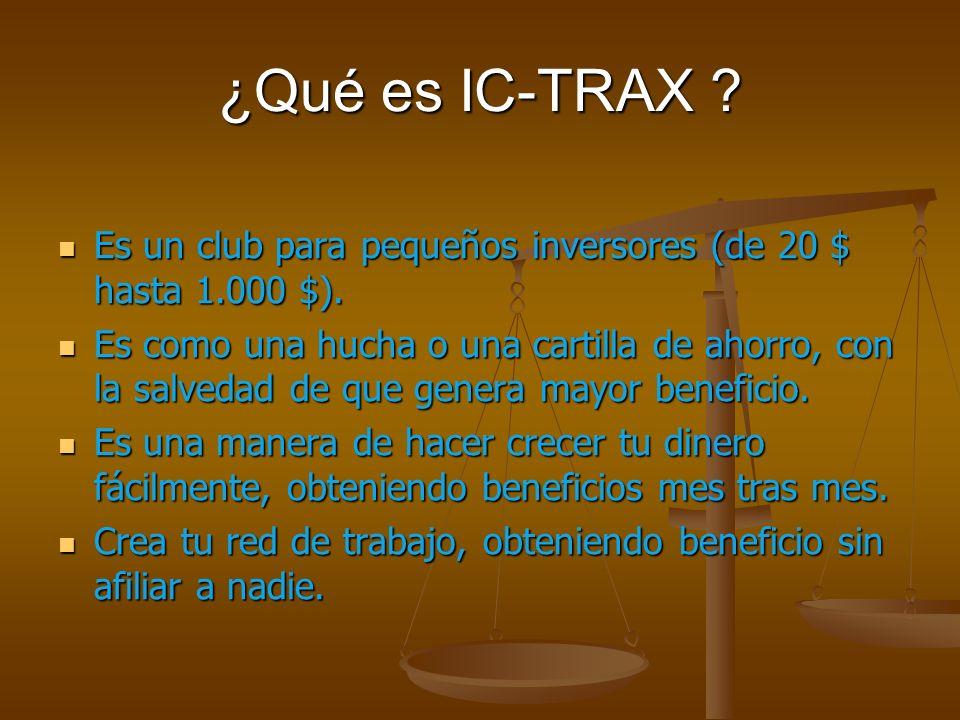 ¿Qué es IC-TRAX . Es un club para pequeños inversores (de 20 $ hasta 1.000 $).