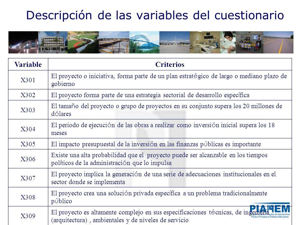 Descripción de las variables del cuestionario VariableCriterios X301 El proyecto o iniciativa, forma parte de un plan estrat é gico de largo o mediano
