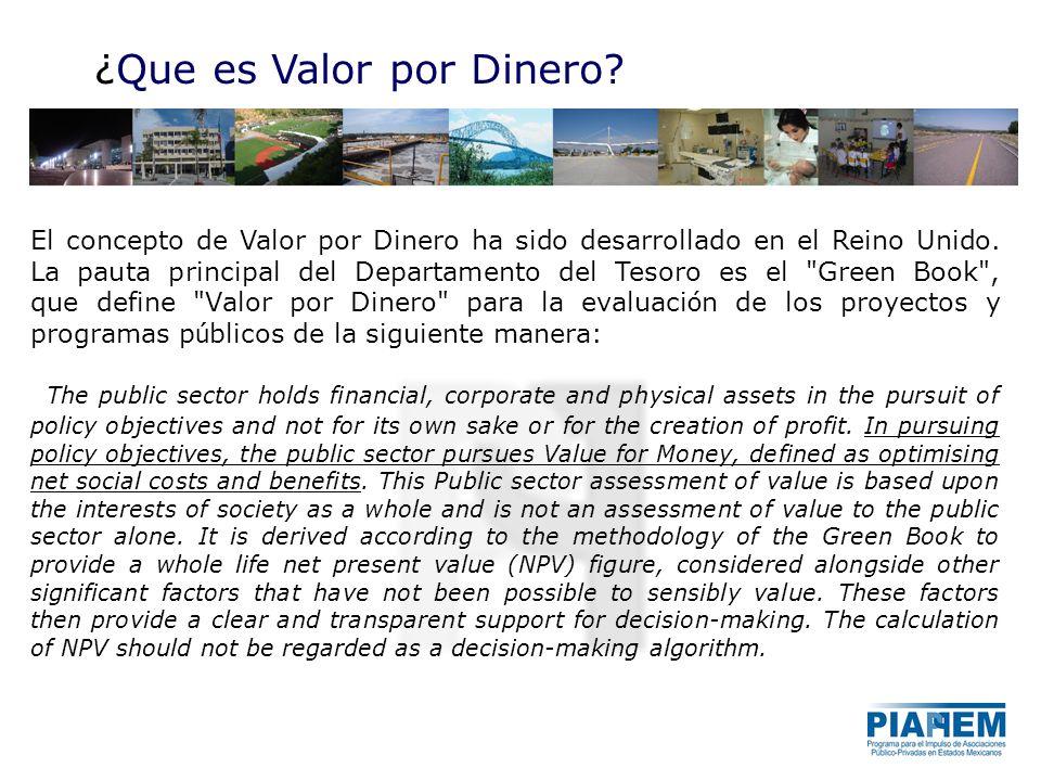 El concepto de Valor por Dinero ha sido desarrollado en el Reino Unido. La pauta principal del Departamento del Tesoro es el