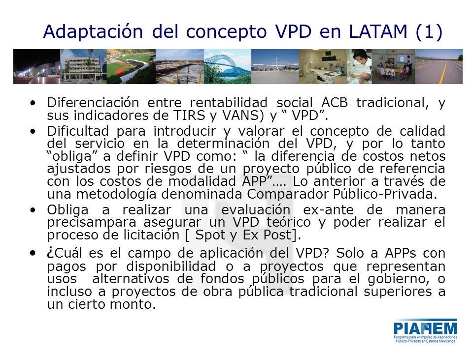 Adaptación del concepto VPD en LATAM (1) Diferenciaci ó n entre rentabilidad social ACB tradicional, y sus indicadores de TIRS y VANS) y VPD. Dificult