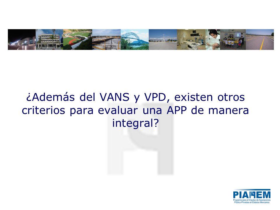 ¿Además del VANS y VPD, existen otros criterios para evaluar una APP de manera integral?