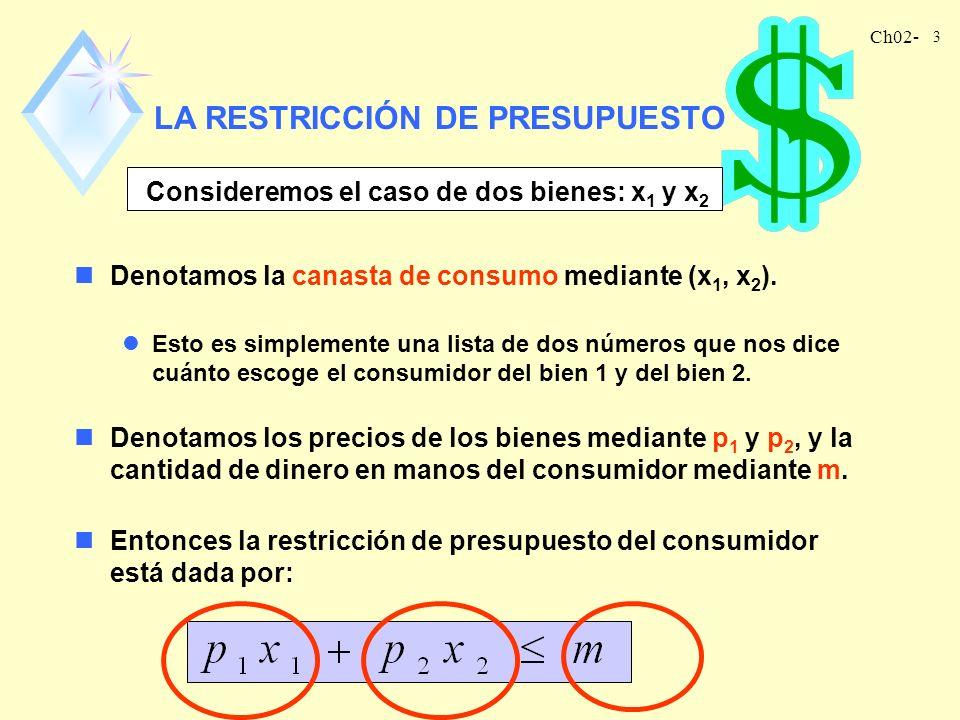 Ch02- 2 Teoría Económica del Consumidor nLos Economistas asumen que los consumidores escogen la mejor canasta de bienes que pueden obtener. nEn este c