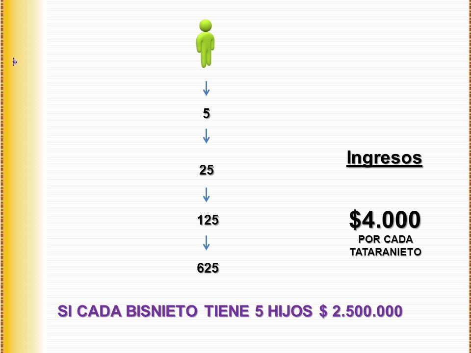 Ingresos SI CADA BISNIETO TIENE 5 HIJOS $ 2.500.000 5 25 125 625 $4.000 POR CADA TATARANIETO