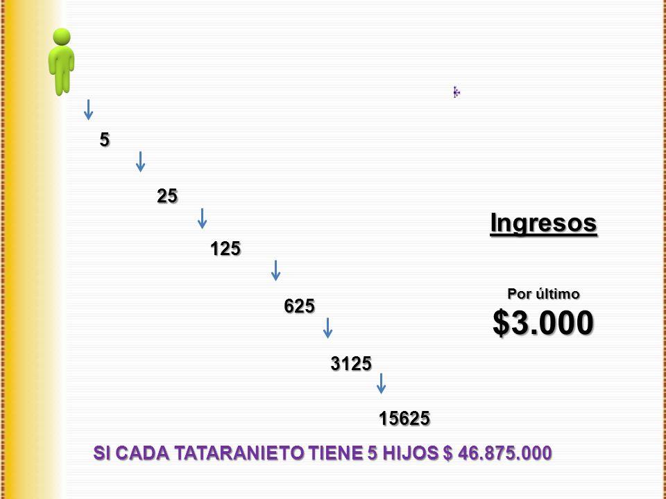 Ingresos SI CADA TATARANIETO TIENE 5 HIJOS $ 46.875.000 5 25 125 625 3125 Por último $3.000 15625