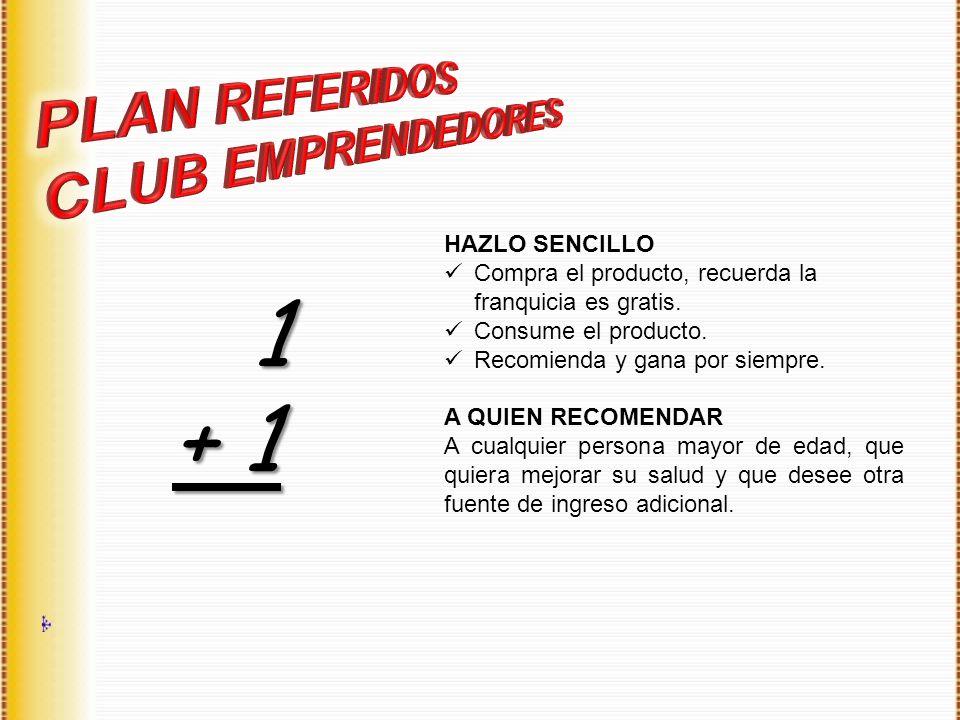 HAZLO SENCILLO Compra el producto, recuerda la franquicia es gratis. Consume el producto. Recomienda y gana por siempre. A QUIEN RECOMENDAR A cualquie