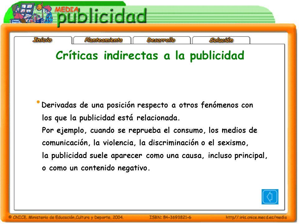 Críticas indirectas a la publicidad Derivadas de una posición respecto a otros fenómenos con los que la publicidad está relacionada.