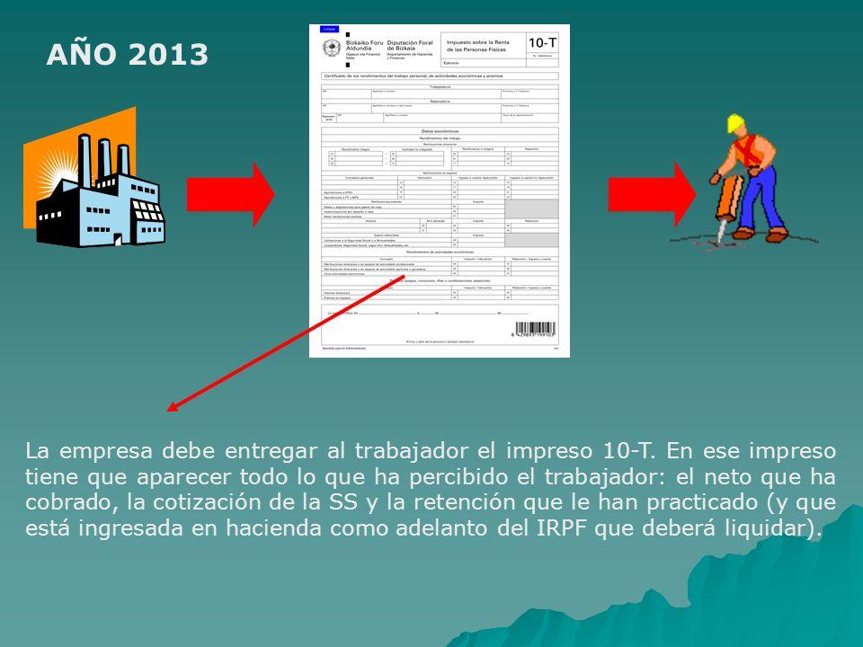 AÑO 2013 La empresa debe entregar al trabajador el impreso 10-T. En ese impreso tiene que aparecer todo lo que ha percibido el trabajador: el neto que