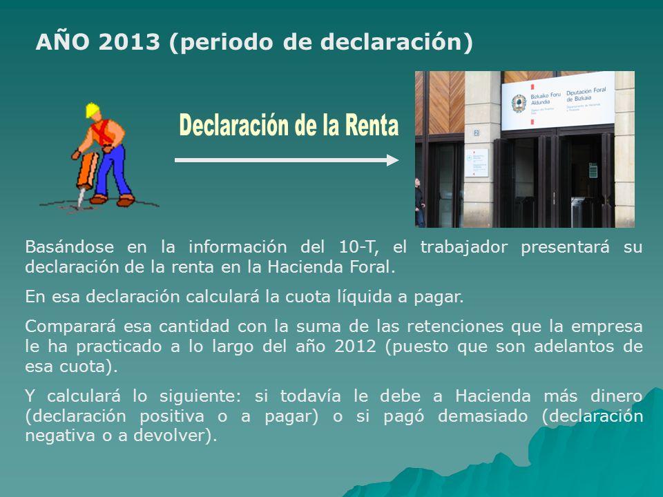 AÑO 2013 (periodo de declaración) Basándose en la información del 10-T, el trabajador presentará su declaración de la renta en la Hacienda Foral. En e
