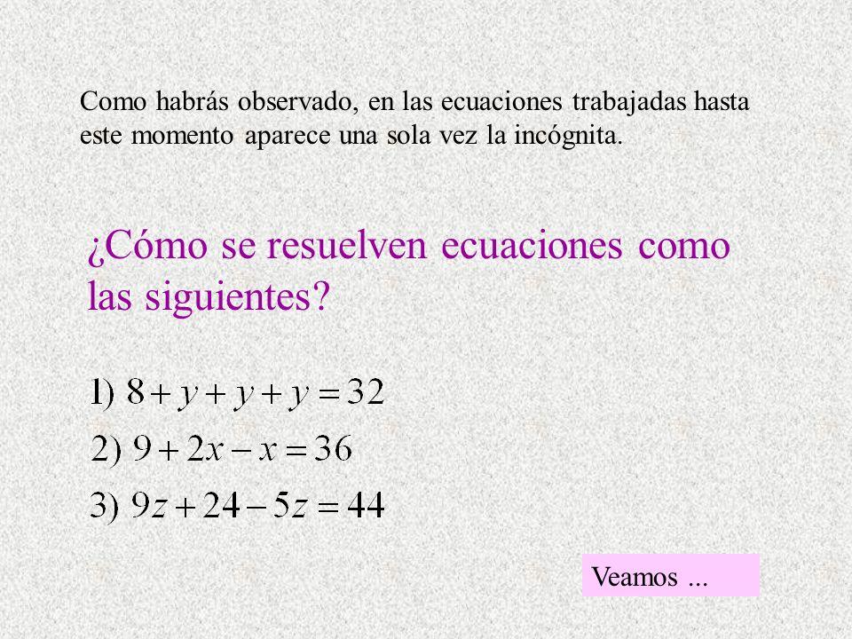 Como habrás observado, en las ecuaciones trabajadas hasta este momento aparece una sola vez la incógnita. ¿Cómo se resuelven ecuaciones como las sigui