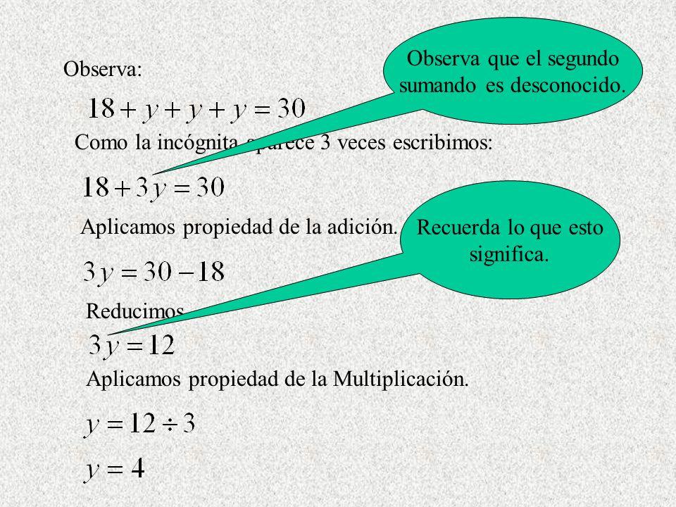 Observa: Como la incógnita aparece 3 veces escribimos: Aplicamos propiedad de la adición. Reducimos Aplicamos propiedad de la Multiplicación. Recuerda