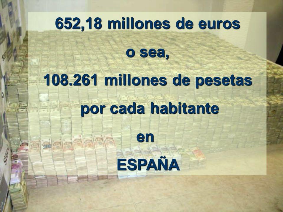 30.000.000.000 de euritos entre 46.063.511 habitantes sale a: 652,18 millones de euros 652,18 millones de euros PARA CADA ESPAÑOL