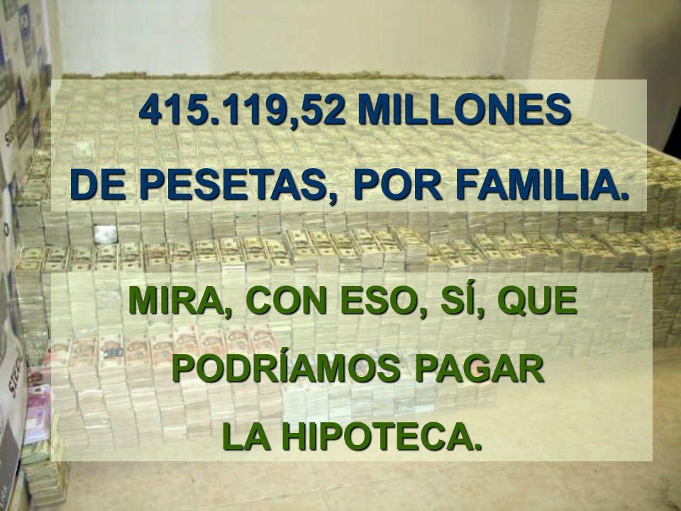 TENIENDO UNA MEDIA DE 4 PERSONA CADA FAMILIA CORRESPONDEN 2.500,72 MILLONES 2.500,72 MILLONES POR FAMILIA