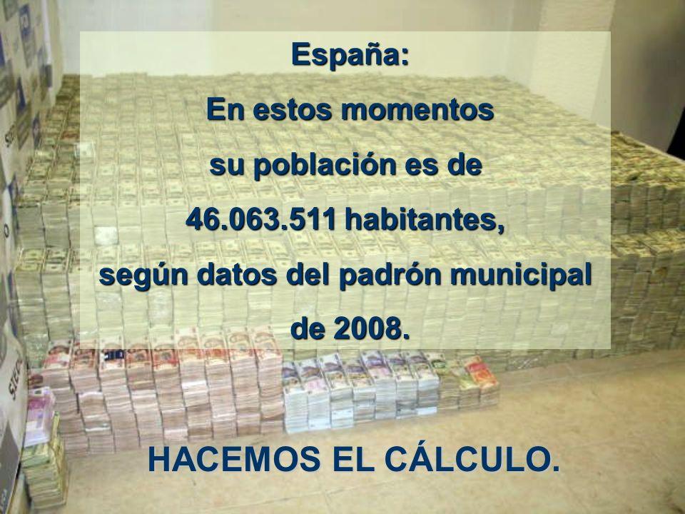 España: España: En estos momentos En estos momentos su población es de 46.063.511 habitantes, según datos del padrón municipal de 2008.