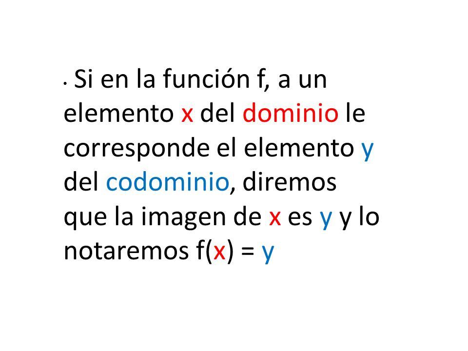 Si en la función f, a un elemento x del dominio le corresponde el elemento y del codominio, diremos que la imagen de x es y y lo notaremos f(x) = y