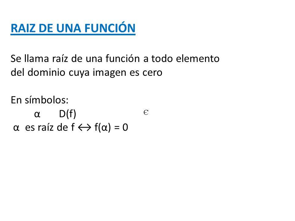 RAIZ DE UNA FUNCIÓN Se llama raíz de una función a todo elemento del dominio cuya imagen es cero En símbolos: α D(f) α es raíz de f f(α) = 0