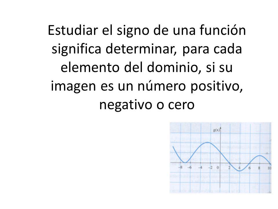 Estudiar el signo de una función significa determinar, para cada elemento del dominio, si su imagen es un número positivo, negativo o cero