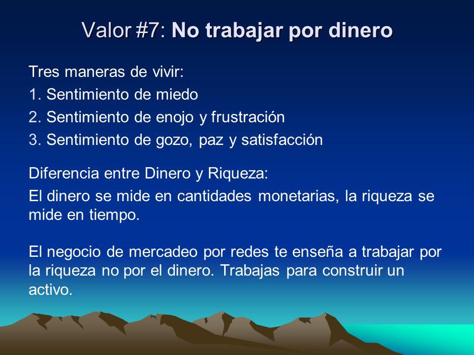 Valor #7: No trabajar por dinero Tres maneras de vivir: 1. Sentimiento de miedo 2. Sentimiento de enojo y frustración 3. Sentimiento de gozo, paz y sa