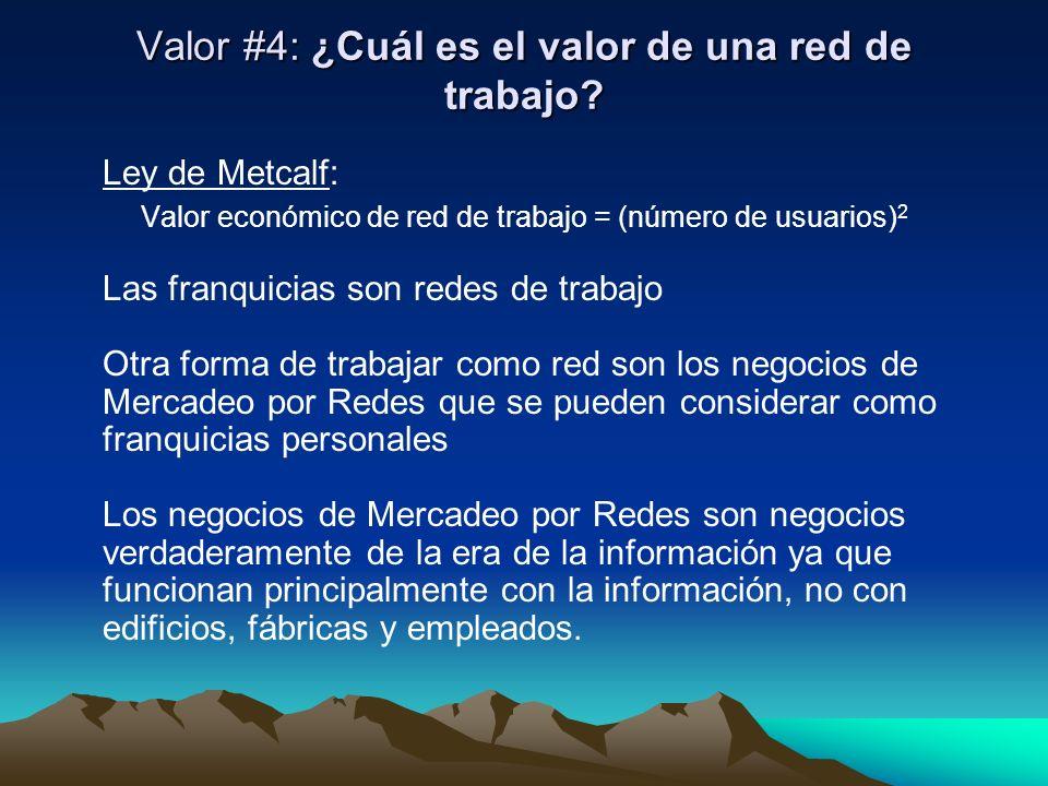 Valor #4: ¿Cuál es el valor de una red de trabajo? Ley de Metcalf: Valor económico de red de trabajo = (número de usuarios) 2 Las franquicias son rede