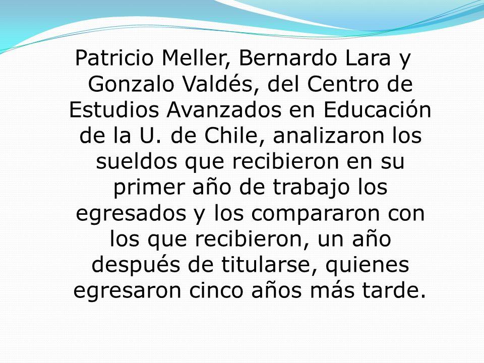 Patricio Meller, Bernardo Lara y Gonzalo Valdés, del Centro de Estudios Avanzados en Educación de la U. de Chile, analizaron los sueldos que recibiero