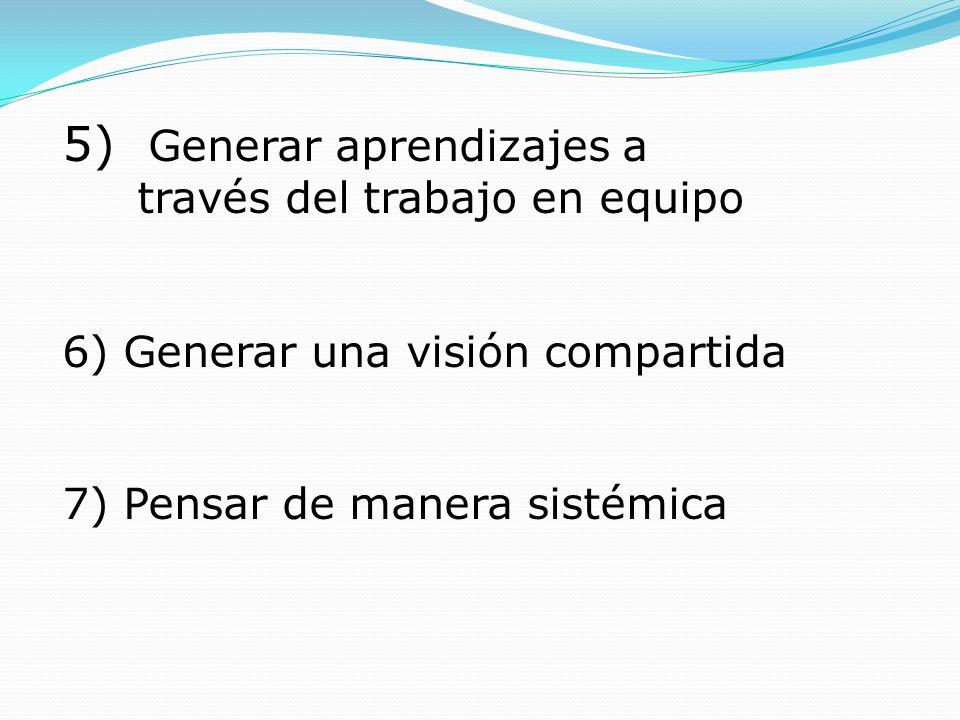 5) Generar aprendizajes a través del trabajo en equipo 6) Generar una visión compartida 7) Pensar de manera sistémica