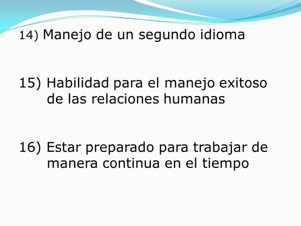 14) Manejo de un segundo idioma 15) Habilidad para el manejo exitoso de las relaciones humanas 16) Estar preparado para trabajar de manera continua en