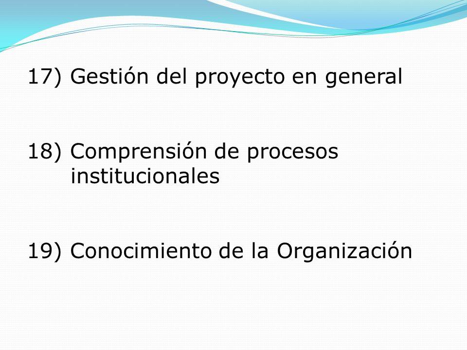17) Gestión del proyecto en general 18) Comprensión de procesos institucionales 19) Conocimiento de la Organización