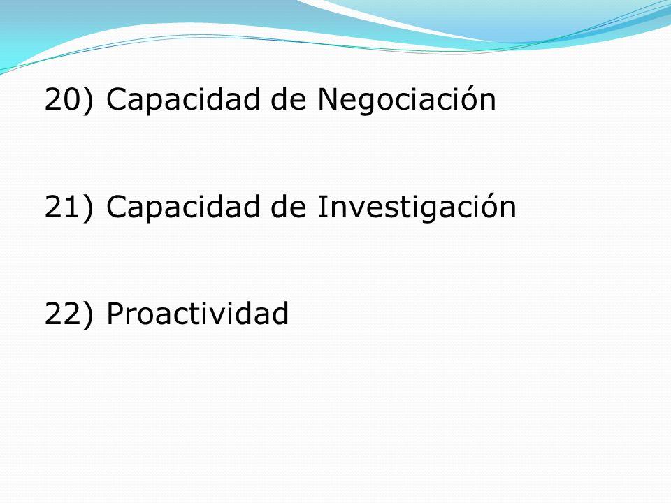 20) Capacidad de Negociación 21) Capacidad de Investigación 22) Proactividad