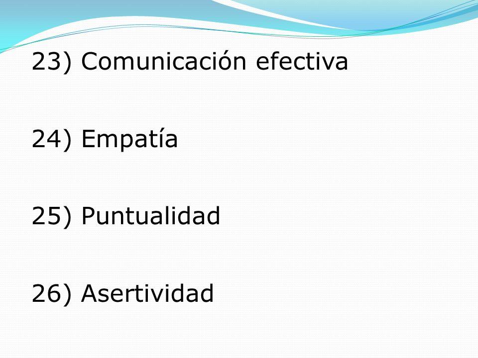 23) Comunicación efectiva 24) Empatía 25) Puntualidad 26) Asertividad