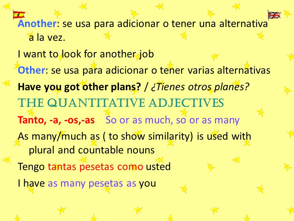 Another: se usa para adicionar o tener una alternativa a la vez. I want to look for another job Other: se usa para adicionar o tener varias alternativ
