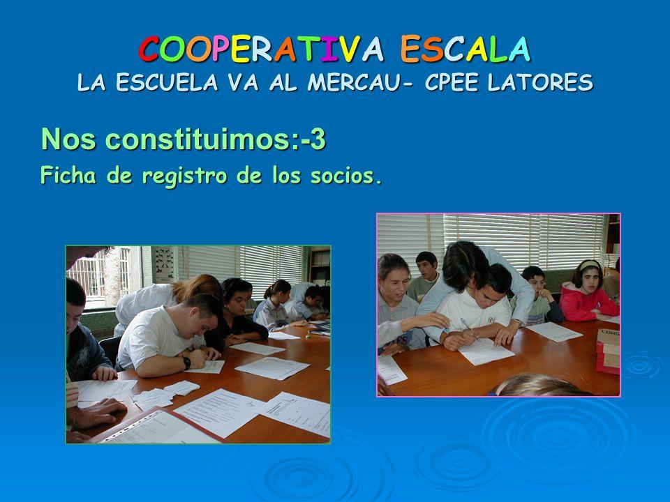 COOPERATIVA ESCALA LA ESCUELA VA AL MERCAU- CPEE LATORES Nos constituimos:-3 Ficha de registro de los socios.
