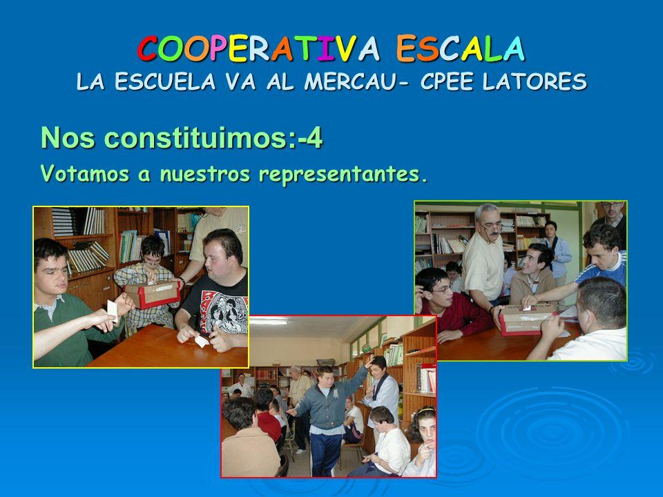 COOPERATIVA ESCALA LA ESCUELA VA AL MERCAU- CPEE LATORES Nos constituimos:-4 Votamos a nuestros representantes.
