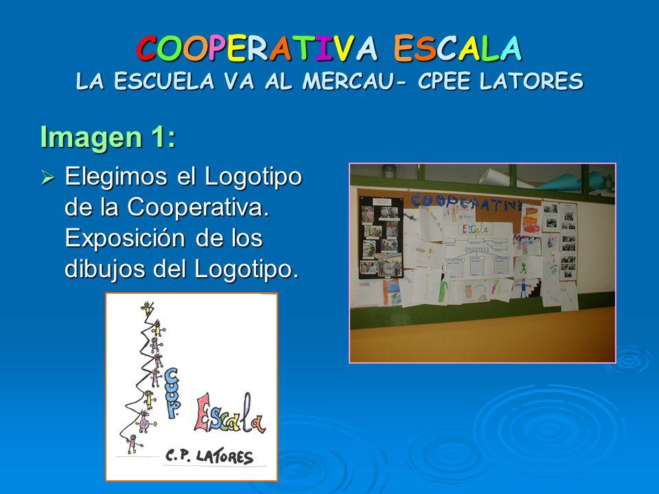 COOPERATIVA ESCALA LA ESCUELA VA AL MERCAU- CPEE LATORES Imagen 1: Elegimos el Logotipo de la Cooperativa. Exposición de los dibujos del Logotipo. Ele