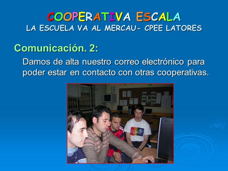 COOPERATIVA ESCALA LA ESCUELA VA AL MERCAU- CPEE LATORES Comunicación. 2: Damos de alta nuestro correo electrónico para poder estar en contacto con ot