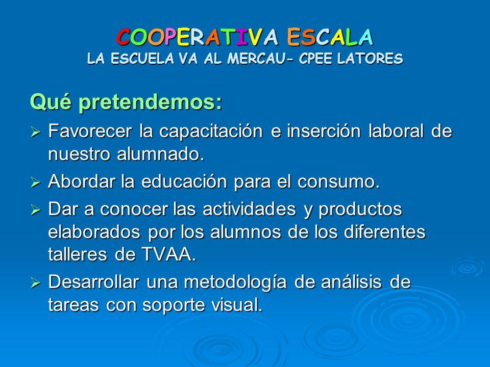 COOPERATIVA ESCALA LA ESCUELA VA AL MERCAU- CPEE LATORES Qué pretendemos: Favorecer la capacitación e inserción laboral de nuestro alumnado. Favorecer