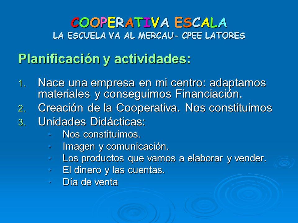 COOPERATIVA ESCALA LA ESCUELA VA AL MERCAU- CPEE LATORES Planificación y actividades: 1. Nace una empresa en mi centro: adaptamos materiales y consegu