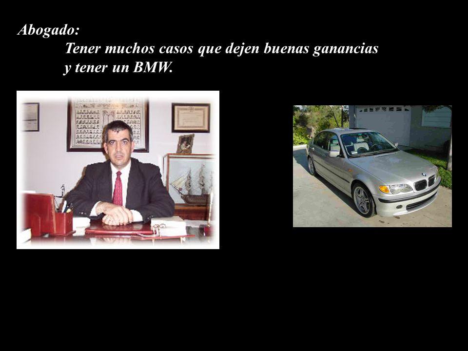 Abogado: Tener muchos casos que dejen buenas ganancias y tener un BMW.