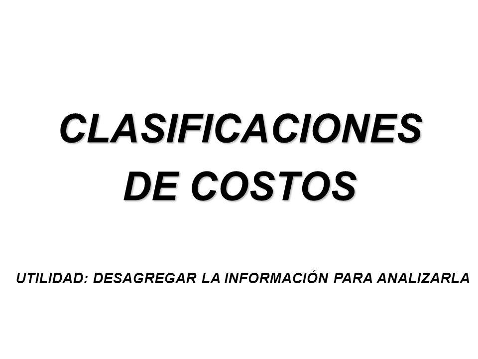 CLASIFICACIONES DE COSTOS UTILIDAD: DESAGREGAR LA INFORMACIÓN PARA ANALIZARLA