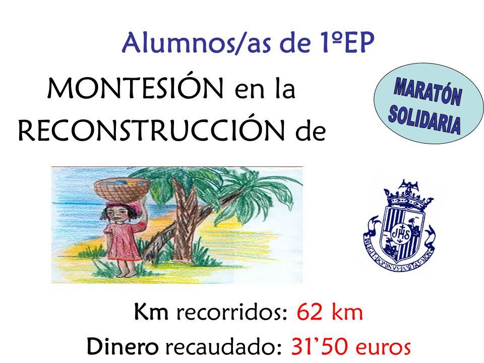 MONTESIÓN en la RECONSTRUCCIÓN de Km recorridos: 62 km Dinero recaudado: 3150 euros Alumnos/as de 1ºEP