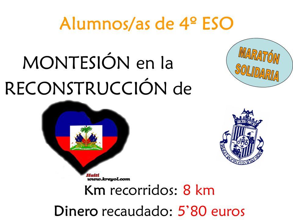 MONTESIÓN en la RECONSTRUCCIÓN de Km recorridos: 8 km Dinero recaudado: 580 euros Alumnos/as de 4º ESO