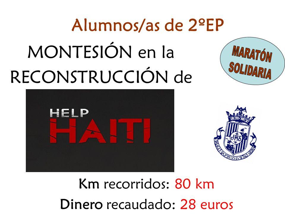 MONTESIÓN en la RECONSTRUCCIÓN de Km recorridos: 80 km Dinero recaudado: 28 euros Alumnos/as de 2ºEP