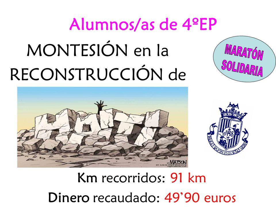 MONTESIÓN en la RECONSTRUCCIÓN de Km recorridos: 91 km Dinero recaudado: 4990 euros Alumnos/as de 4ºEP