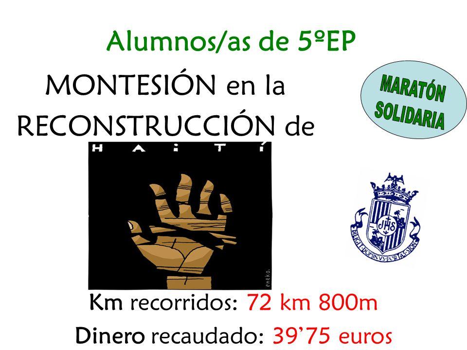 MONTESIÓN en la RECONSTRUCCIÓN de Km recorridos: 72 km 800m Dinero recaudado: 3975 euros Alumnos/as de 5ºEP