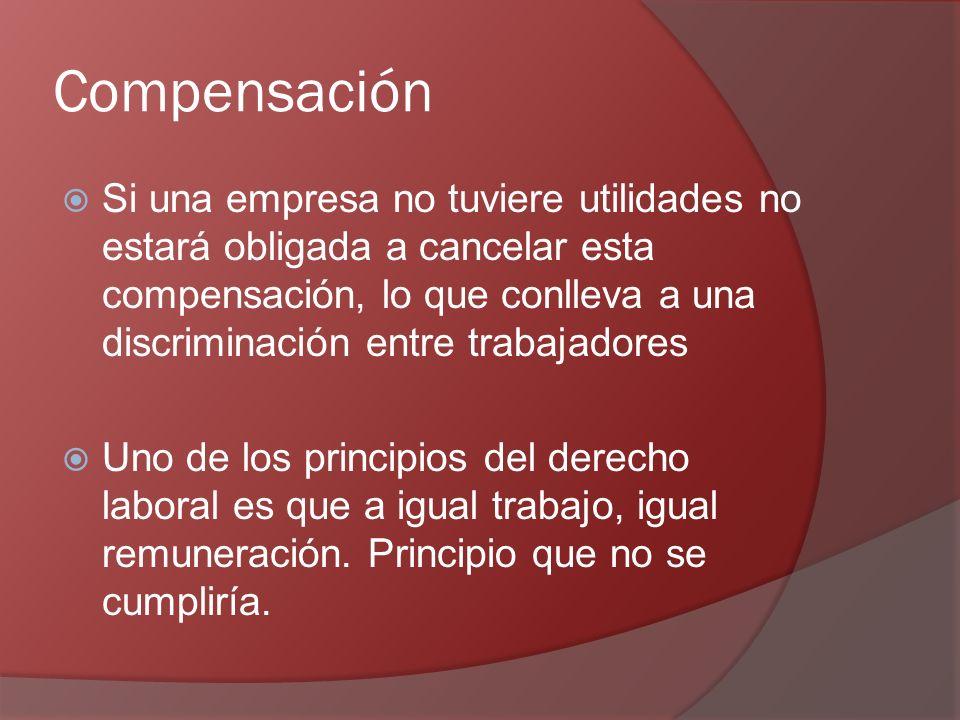 Compensación Si una empresa no tuviere utilidades no estará obligada a cancelar esta compensación, lo que conlleva a una discriminación entre trabajadores Uno de los principios del derecho laboral es que a igual trabajo, igual remuneración.